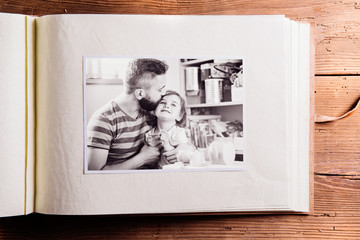 Fathers day composition. Photo album, black-and-white picture.