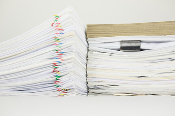 Overload paperwork have blur envelope on document with white background