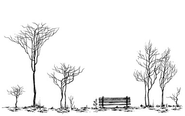 Stylized park decor, bench and trees drawing