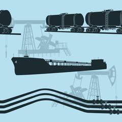 seamless oil transportation: marine tanker, rail tanker, pipelin