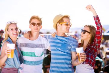 Group of teenagers at summer music festival, sunny day