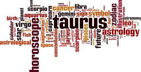 Taurus word cloud concept. Vector illustration