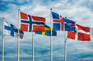 Garden Poster Scandinavia Flags of Scandinavia