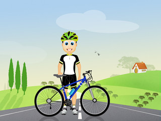 cyclist in the countryside