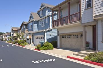 New homes in Richmond California on a hillside.