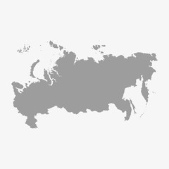 Russia map in gray on a white background