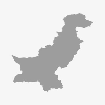 Pakistan map in gray on white background