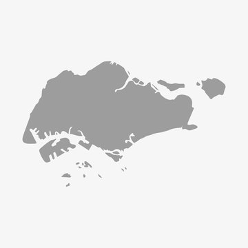Singapore map in gray on a white background