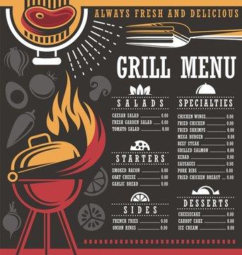 Restaurant menu layout