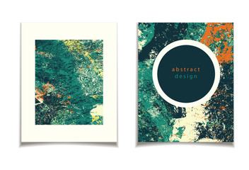 abstract green orange card