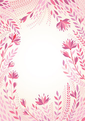 Vector background illustration with a frame of flowers.