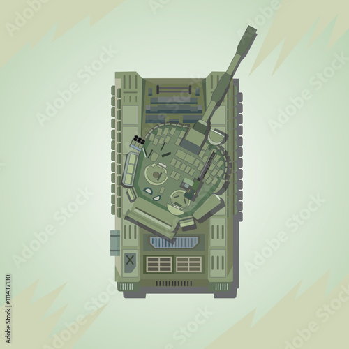 94a2bc35a411e Battle Tank. Top view. Vector illustration.