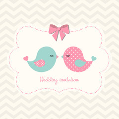 Wedding invitation with two cute birds, illustration