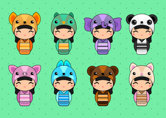 Set of cute Japanese Kokeshi Dolls in animal costumes. Kids background. Fox, owl, elephant, panda, pig, bunny, bear, cat costumes.