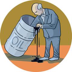 A businessman scrapes the bottom of the barrel