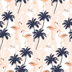 Palm trees silhouette and blush pink flamingo on the white background with strokes. Vector seamless pattern with tropical birds and plants.