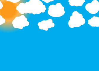 Set of different Cloud and Sun. Vector Illustration