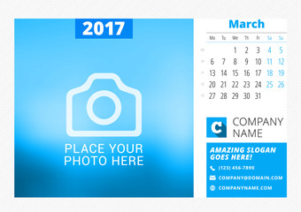 Desk calendar for 2017 year. Vector print template with place for photo. March. Week starts Monday. Calendar page. Stationery design