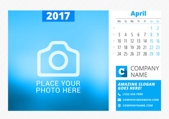 Desk calendar for 2017 year. Vector print template with place for photo. April. Week starts Monday. Calendar page. Stationery design