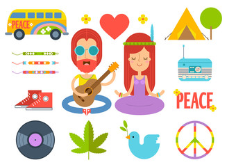 Set of color hippie vector flat icons. Infographic elements. Hippie van, cannabis leaf, heart, tent, friendship bracelets, radio, sneakers, vinyl record, dove of peace, pacific symbol. Man with guitar