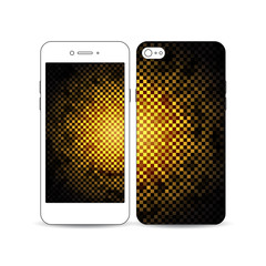 Mobile smartphone with an example of the screen and cover design isolated on white background. Abstract polygonal background, modern stylish golden vector texture