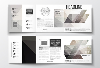 Set of tri-fold brochures, square design templates. Abstract blurred background, modern stylish dark vector texture.