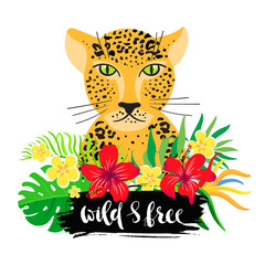 """Inscription """"wild and free"""" with cartoon leopard and flowers."""