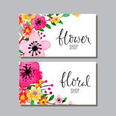 Set of floral flyers