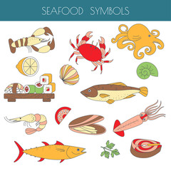 Set of different types of marine animals and fis as a seafood.