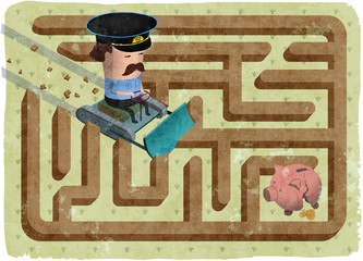 Concept illustration of a debt recovery. The lawman in the maze is collecting money from a debtor. The officer is on his way to the broken piggy bank in a corner.