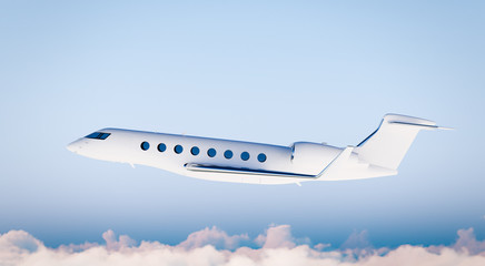 Photo White Matte Luxury Generic Design Private Airplane Flying in Blue Sky.Clear Mockup Isolated on Blurred Background.Business Travel Picture. Left Side view. Horizontal. 3D rendering.
