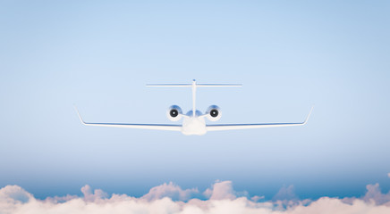 Photo White Matte Luxury Generic Design Private Airplane Model in Blue Sky.Clear Mockup Isolated on Blurred Background.Business Travel Picture. Back Side view. Horizontal. 3D rendering.