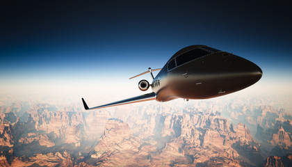 Photo Cabin Black Matte Luxury Generic Design Private Jet Flying in Sky under Earth Surface. Grand Canyon Background. Business Travel Picture. Horizontal, right angle view. Film Effect. 3D rendering.