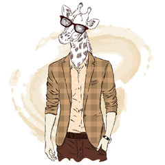Giraffe - hipster in a jacket and sunglasses. Vector illustration. Print on a postcard, poster or clothing.