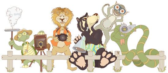 Zoo animals cartoon. Turtle, monkey lion, bear and snake taking photos