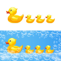 rubber duck with ducklings. Vector