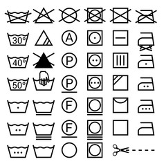 Set of washing symbols. Laundry icons isolated on white backgrou