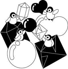 Baby penguins and various-shaped ice jewels of heart shape and round shape and the diamond shape.