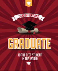 Graduation mortarboard and diploma greeting card design. EPS 10 vector.