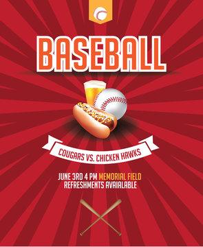 Baseball game invitation poster design. EPS 10 vector.
