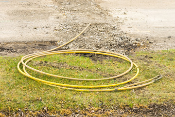 Gas line replacement work in progress
