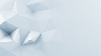 White polygonal shape 3D render