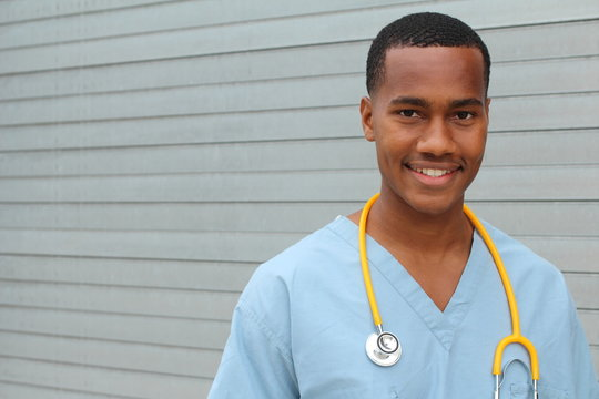 Portrait of a young smiling nurse with copyspace
