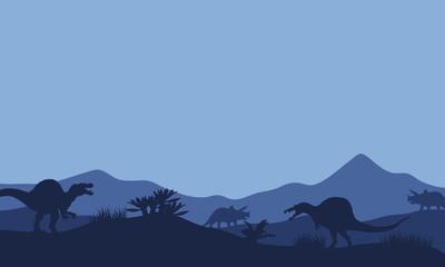 Silhouette in fields spinosaurus