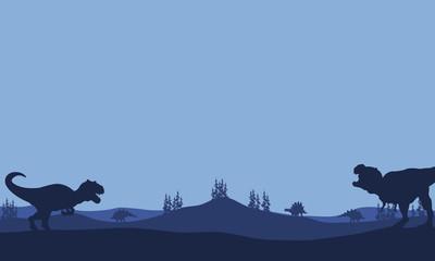 Silhouette of Tyranosaurus and allosaurus