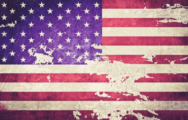 vintage color tone of American flag with dirt grunge for indepen