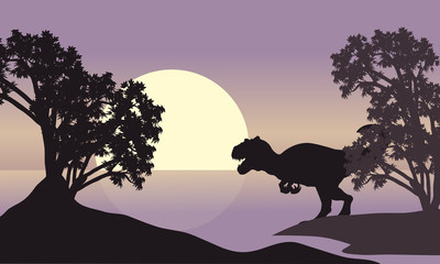 allosaurus in riverbank scenery silhouette