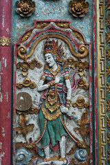 Beautiful decorated Balinese door at a house in Bali