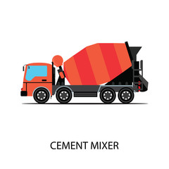 Cement mixer truck isolated on white background, transportation vector illustration.
