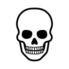 Death skull or human skull line art icon for games and websites